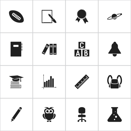 literature: Set Of 16 Editable Education Icons. Includes Symbols Such As Education, Straightedge, Oval Ball And More. Can Be Used For Web, Mobile, UI And Infographic Design. Illustration