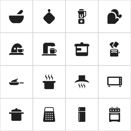 originator: Set Of 16 Editable Meal Icons. Includes Symbols Such As Shredder, Kitchen Glove, Soup And More. Can Be Used For Web, Mobile, UI And Infographic Design.