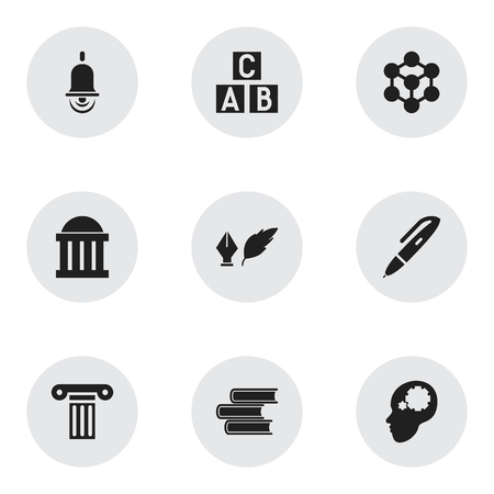 courthouse: Set Of 9 Editable Education Icons. Includes Symbols Such As Pillar, Library, Literature And More. Can Be Used For Web, Mobile, UI And Infographic Design.