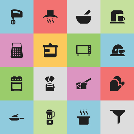 Set Of 16 Editable Meal Icons. Includes Symbols Such As Bakery, Oven, Kitchen Hood And More. Can Be Used For Web, Mobile, UI And Infographic Design. Illustration