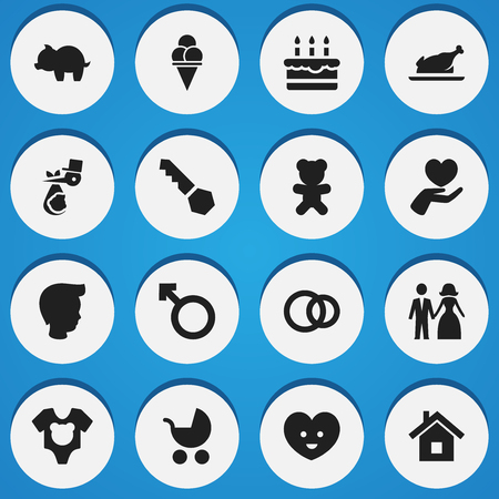 Set Of 16 Editable Folks Icons. Includes Symbols Such As Moneybox, Lock, Toy And More. Can Be Used For Web, Mobile, UI And Infographic Design.