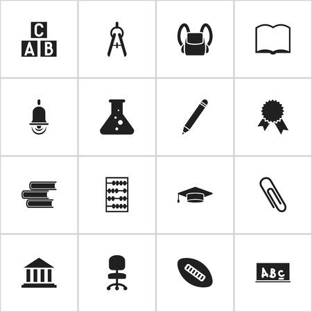 Ensemble de 16 icônes de science modifiables. Inclut des symboles tels que le diplômé, le médaillon de victoire, l'outil de maths et plus. Peut être utilisé pour Web, Mobile, UI et conception infographique.