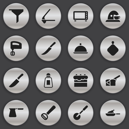 Set Of 16 Editable Cook Icons. Includes Symbols Such As Knife, Pot-Holder, Filtering And More. Can Be Used For Web, Mobile, UI And Infographic Design.