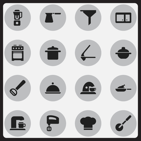 Set Of 16 Editable Meal Icons. Includes Symbols Such As Hand Mixer, Cookware, Drink Maker. Can Be Used For Web, Mobile, UI And Infographic Design.