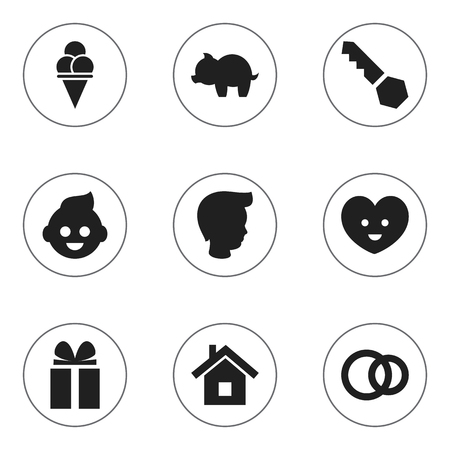 Set Of 9 Editable Folks Icons. Includes Symbols Such As Boy, Soul, Hoop And More. Can Be Used For Web, Mobile, UI And Infographic Design. Ilustração