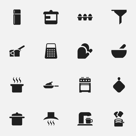 Set Of 16 Editable Meal Icons. Includes Symbols Such As Drink Maker, Grill, Kitchen Glove And More. Can Be Used For Web, Mobile, UI And Infographic Design.