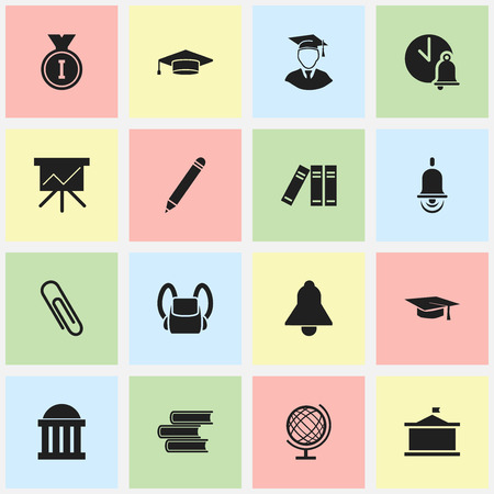 univercity: Set Of 16 Editable School Icons. Includes Symbols Such As Library, Univercity, First Place And More. Can Be Used For Web, Mobile, UI And Infographic Design.