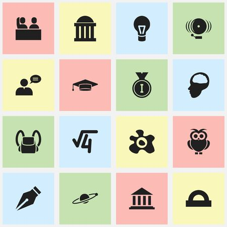 baccalaureate: Set Of 16 Editable Graduation Icons. Includes Symbols Such As Lamp, Nib, Schoolbag And More. Can Be Used For Web, Mobile, UI And Infographic Design.