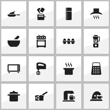 bread maker: Set Of 16 Editable Food Icons. Includes Symbols Such As Soup, Agitator, Bakery And More. Can Be Used For Web, Mobile, UI And Infographic Design. Illustration