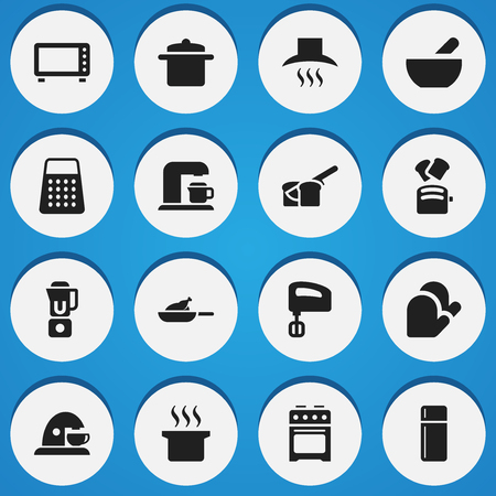 bread maker: Set Of 16 Editable Food Icons. Includes Symbols Such As Oven , Agitator , Hand Mixer. Can Be Used For Web, Mobile, UI And Infographic Design.