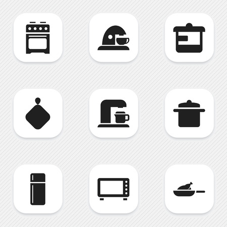 kitchen furniture: Set Of 9 Editable Cooking Icons. Includes Symbols Such As Grill, Pot-Holder, Refrigerator And More. Can Be Used For Web, Mobile, UI And Infographic Design.