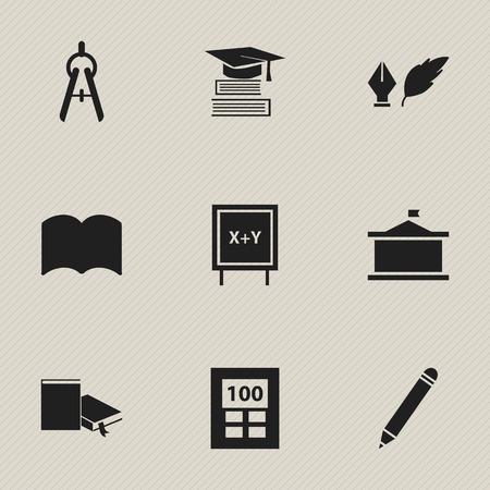 Ensemble de 9 icônes universitaires modifiables. Comprend des symboles tels que tableau noir, crayon, éducation et plus encore. Peut être utilisé pour Web, Mobile, UI et conception infographique. Vecteurs