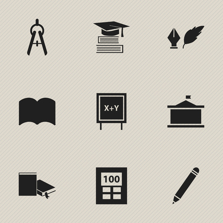 Set Of 9 Editable University Icons. Includes Symbols Such As Blackboard, Pencil, Education And More. Can Be Used For Web, Mobile, UI And Infographic Design.