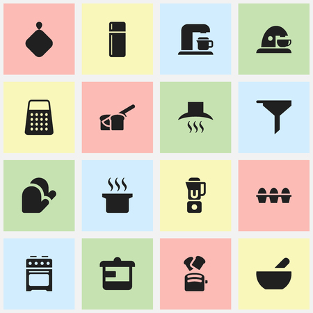 Set Of 16 Editable Cook Icons. Includes Symbols Such As Soup, Refrigerator, Shredder And More. Can Be Used For Web, Mobile, UI And Infographic Design.