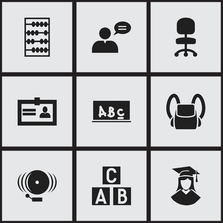 Set Of 9 Editable Graduation Icons. Includes Symbols Such As School Board, Schoolbag, Certification And More. Can Be Used For Web, Mobile, UI And Infographic Design. Illustration