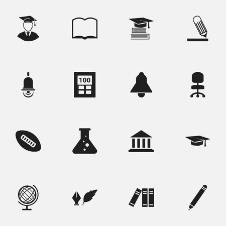 Set Of 16 Editable Graduation Icons. Includes Symbols Such As Chemistry, Earth Planet, Pencil And More. Can Be Used For Web, Mobile, UI And Infographic Design.