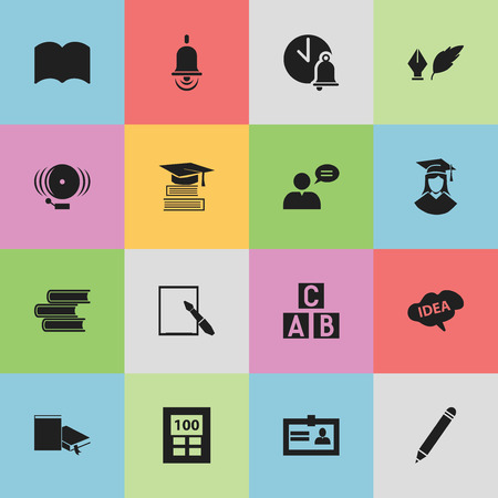 achievement concept: Set Of 16 Editable Education Icons. Includes Symbols Such As Literature, Dictionary, Thinking Man And More. Can Be Used For Web, Mobile, UI And Infographic Design.