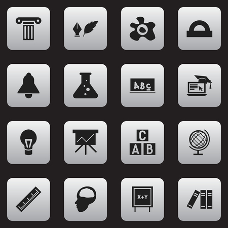 Set Of 16 Editable University Icons. Includes Symbols Such As Straightedge, School Board, Earth Planet And More. Can Be Used For Web, Mobile, UI And Infographic Design.