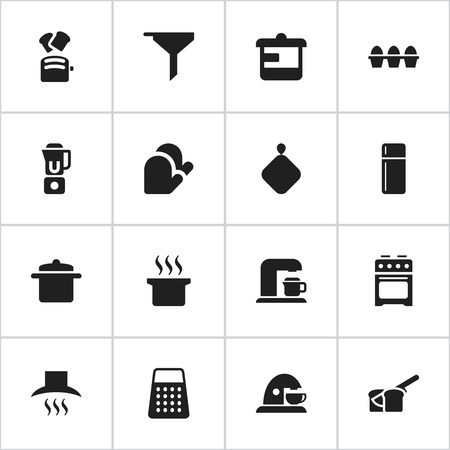 Set Of 16 Editable Cooking Icons. Includes Symbols Such As Shredder, Bakery, Stove And More. Can Be Used For Web, Mobile, UI And Infographic Design. Illustration