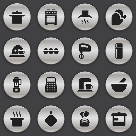 bowl of cereal: Set Of 16 Editable Food Icons. Includes Symbols Such As Hand Mixer, Kitchen Hood, Pot-Holder. Can Be Used For Web, Mobile, UI And Infographic Design. Illustration
