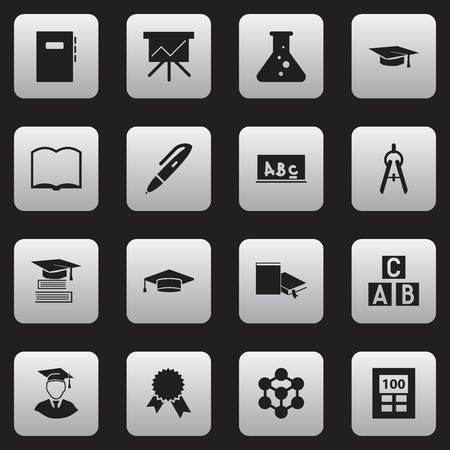 Lot de 16 éditables Graduation icônes. Comprend des symboles tels que Victory Médaillon, Livre, signet et plus. Peut être utilisé pour le Web, Mobile, l'interface utilisateur et la conception infographique. Vecteurs