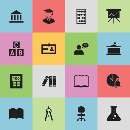 Ensemble de 16 icônes d'éducation modifiables. Comprend des symboles tels que l'arithmétique, la calculatrice, la cloche de l'école, etc. Peut être utilisé pour la conception Web, mobile, UI et infographique.