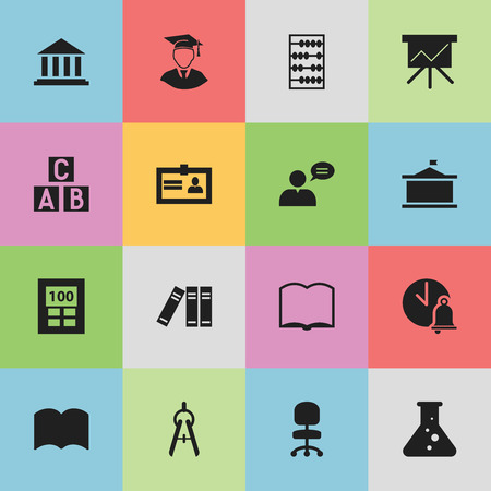 laboratory equipment: Set Of 16 Editable Education Icons. Includes Symbols Such As Arithmetic, Calculator, School Bell And More. Can Be Used For Web, Mobile, UI And Infographic Design.