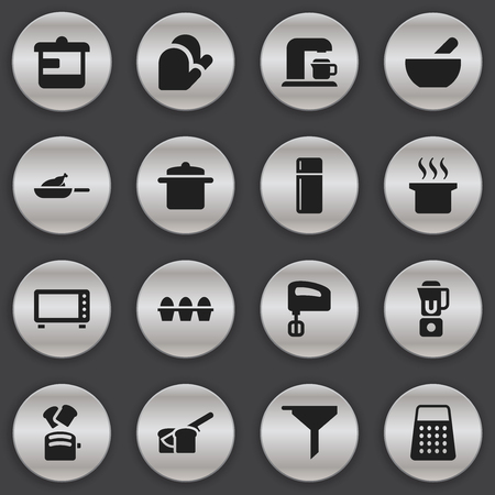 Set Of 16 Editable Food Icons. Includes Symbols Such As Grill , Hand Mixer, Bakery. Can Be Used For Web, Mobile, UI And Infographic Design.