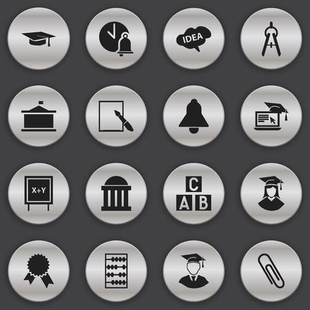 Ensemble de 16 icônes de l'Université modifiables. Comprend des symboles tels que l'esprit, l'apprentissage à distance, le médaillon de la victoire, etc. Peut être utilisé pour Web, Mobile, UI et conception infographique.