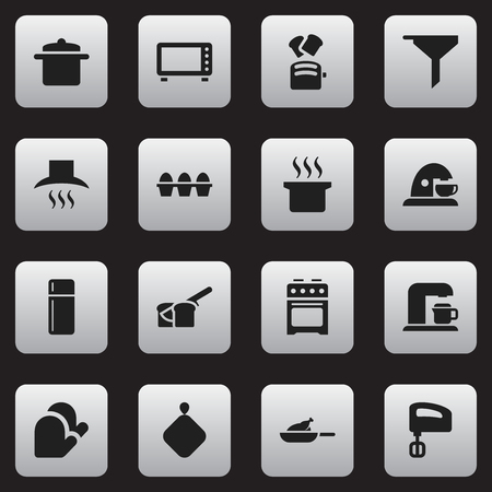 Set Of 16 Editable Cook Icons. Includes Symbols Such As Cookware, Drink Maker, Kitchen Hood And More. Can Be Used For Web, Mobile, UI And Infographic Design. Illustration