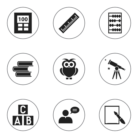 baccalaureate: Set Of 9 Editable University Icons. Includes Symbols Such As Alphabet Cube, Straightedge, Arithmetic And More. Can Be Used For Web, Mobile, UI And Infographic Design.