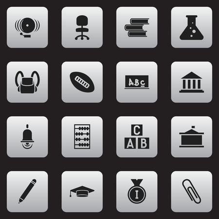 literature: Set Of 16 Editable Education Icons. Includes Symbols Such As Museum, Pencil, Library And More. Can Be Used For Web, Mobile, UI And Infographic Design. Illustration