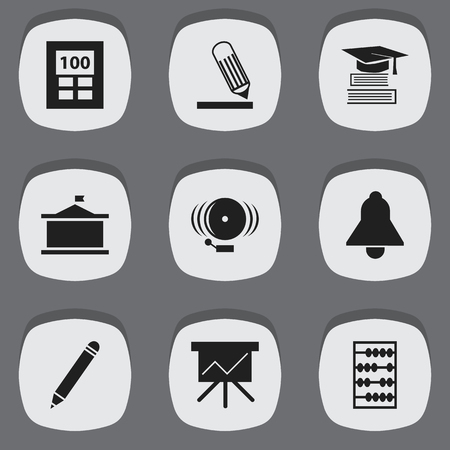 Set Of 9 Editable Science Icons. Includes Symbols Such As Education, Arithmetic, Calculator And More. Can Be Used For Web, Mobile, UI And Infographic Design.