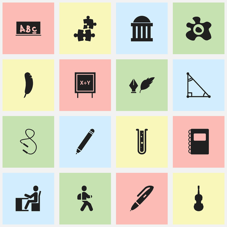 scale icon: Set Of 16 Editable Science Icons. Includes Symbols Such As Schoolboy, Feather, Blackboard And More. Can Be Used For Web, Mobile, UI And Infographic Design.