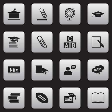 Set Of 16 Editable School Icons. Includes Symbols Such As School Board, Univercity, Library And More. Can Be Used For Web, Mobile, UI And Infographic Design.