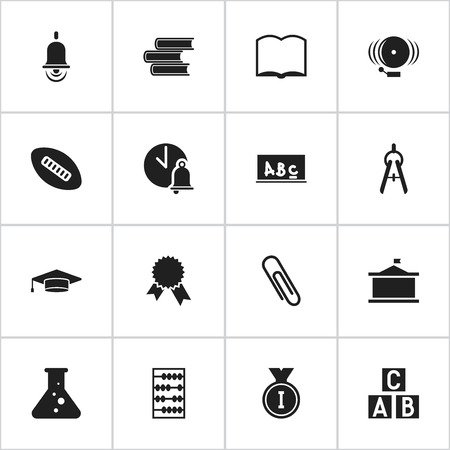 staple: Set Of 16 Editable Science Icons. Includes Symbols Such As Alphabet Cube, Ring, Math Tool And More. Can Be Used For Web, Mobile, UI And Infographic Design.