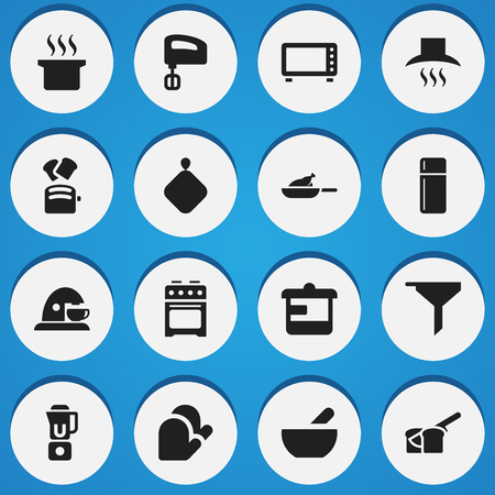 Set Of 16 Editable Cook Icons. Includes Symbols Such As Hand Mixer, Kitchen Hood, Pot-Holder. Can Be Used For Web, Mobile, UI And Infographic Design.