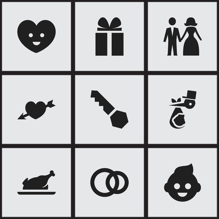 Set Of 9 Editable Family Icons. Includes Symbols Such As Lock, Gift, Love And More. Can Be Used For Web, Mobile, UI And Infographic Design.