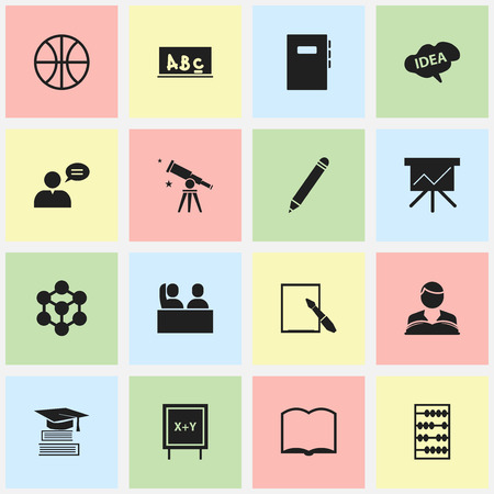 Set Of 16 Editable Science Icons. Includes Symbols Such As Studying Boy, Pencil, Book And More. Can Be Used For Web, Mobile, UI And Infographic Design.