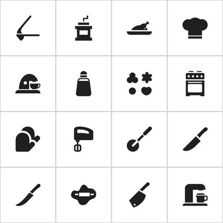 Satz von 16 bearbeitbaren kochenden Ikonen. Enthält Symbole wie Schwert, Crusher, Mocha Grinder und mehr. Kann für Web, Mobile, UI und Infografik Design verwendet werden.