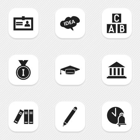 Ensemble de 9 icônes d'agrandissement modifiables. Comprend des symboles comme le crayon, l'esprit, les diplômés et plus. Peut être utilisé pour la conception Web, mobile, UI et infographique.