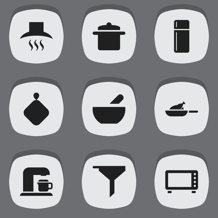 Set Of 9 Editable Cook Icons. Includes Symbols Such As Oven, Cookware, Refrigerator And More. Can Be Used For Web, Mobile, UI And Infographic Design.
