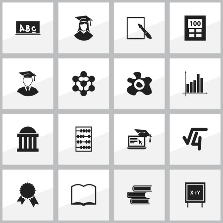 magazine stack: Set Of 16 Editable School Icons. Includes Symbols Such As Graduated Female, Victory Medallion, Graph And More. Can Be Used For Web, Mobile, UI And Infographic Design. Illustration