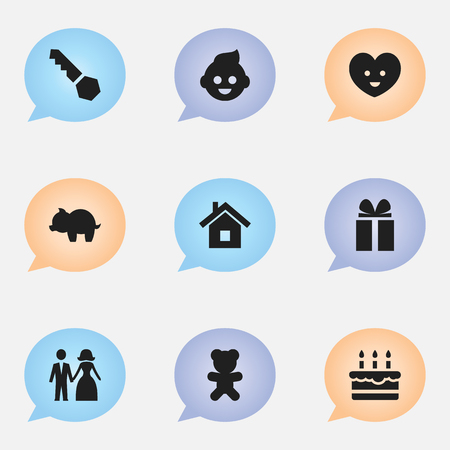 swine flue: Set Of 9 Editable Kin Icons. Includes Symbols Such As Gift, Lock, Baby And More. Can Be Used For Web, Mobile, UI And Infographic Design. Illustration