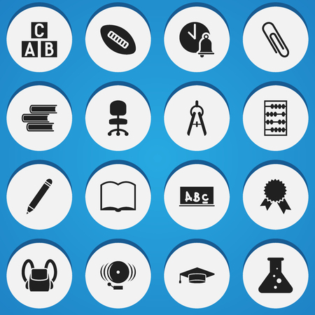 Set Of 16 Editable Graduation Icons. Includes Symbols Such As Staple, Oval Ball, Math Tool And More. Can Be Used For Web, Mobile, UI And Infographic Design. Illustration