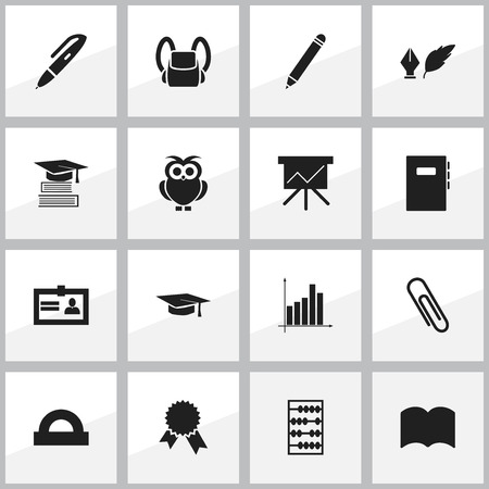 literature: Set Of 16 Editable School Icons. Includes Symbols Such As Certification, Literature, Arithmetic And More. Can Be Used For Web, Mobile, UI And Infographic Design.