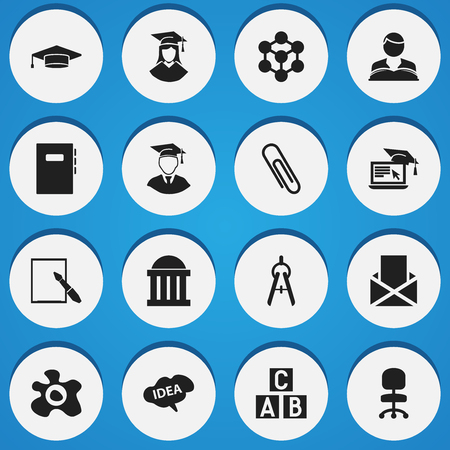 literature: Set Of 16 Editable School Icons. Includes Symbols Such As Graduate, Alphabet Cube, Staple And More. Can Be Used For Web, Mobile, UI And Infographic Design.