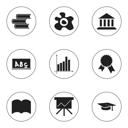 baccalaureate: Set Of 9 Editable Graduation Icons. Includes Symbols Such As Graph, Museum, Library And More. Can Be Used For Web, Mobile, UI And Infographic Design.