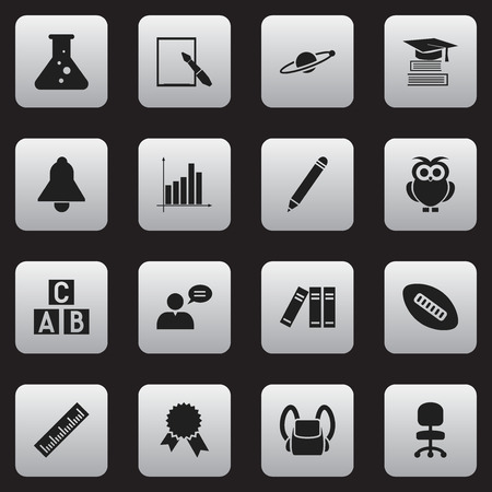 Set Of 16 Editable Education Icons. Includes Symbols Such As Thinking Man, Straightedge, Alphabet Cube And More. Can Be Used For Web, Mobile, UI And Infographic Design.
