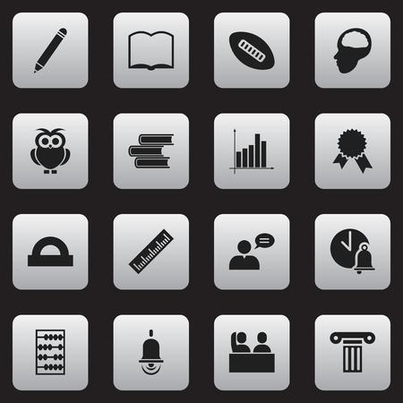 Ensemble de 16 icônes de l'éducation modifiables. Comprend des symboles tels que cloche d'école, règle, règle de demi-cercle et plus encore.